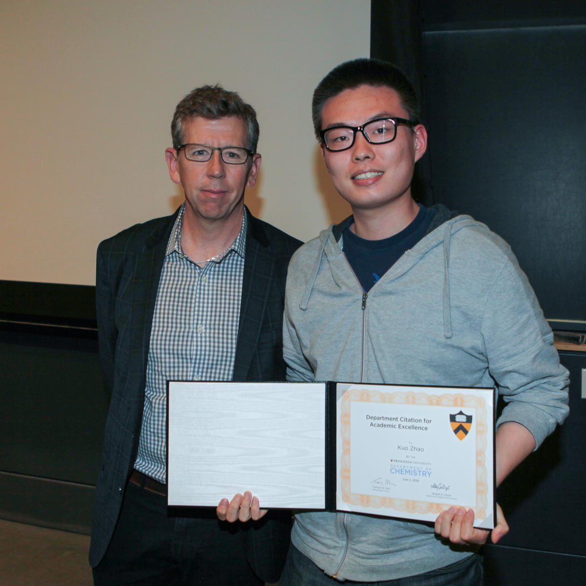 Tom Muir and Kuo Zhao (Knowles lab), recipient of the Department Citation for Academic Excellence.