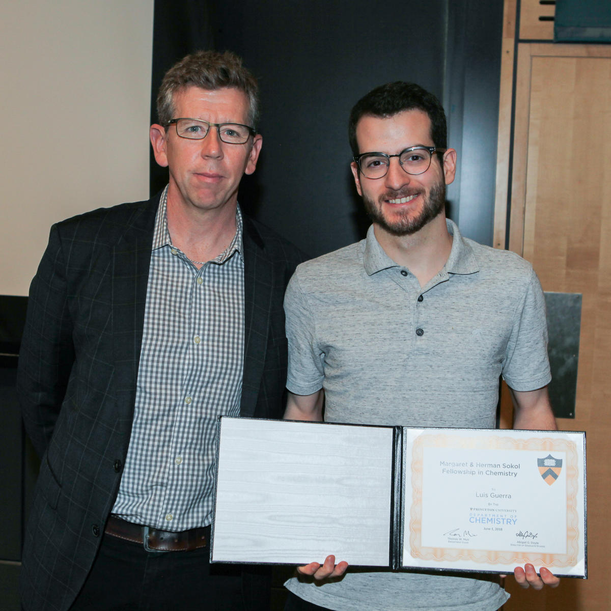 Tom Muir and Luis Guerra (Muir and Yang labs), recipient of the Margaret & Herman Sokol Fellowship in Chemistry