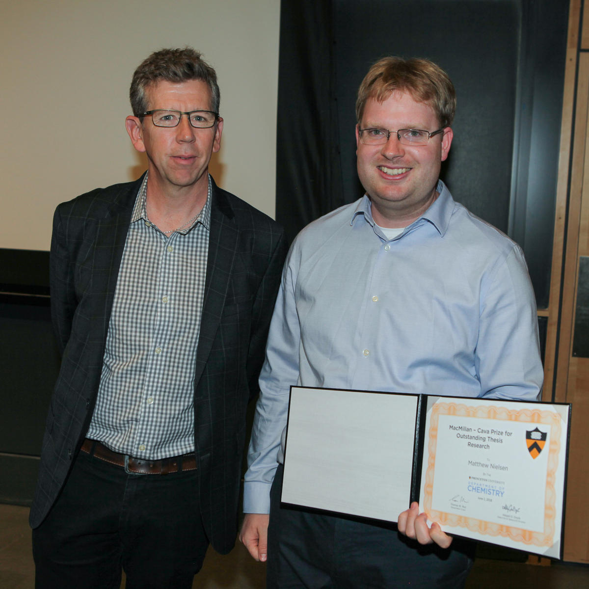 Tom Muir and Matthew Nielsen (Doyle lab), recipient of the MacMillan-Cava Prize for Outstanding Thesis Research