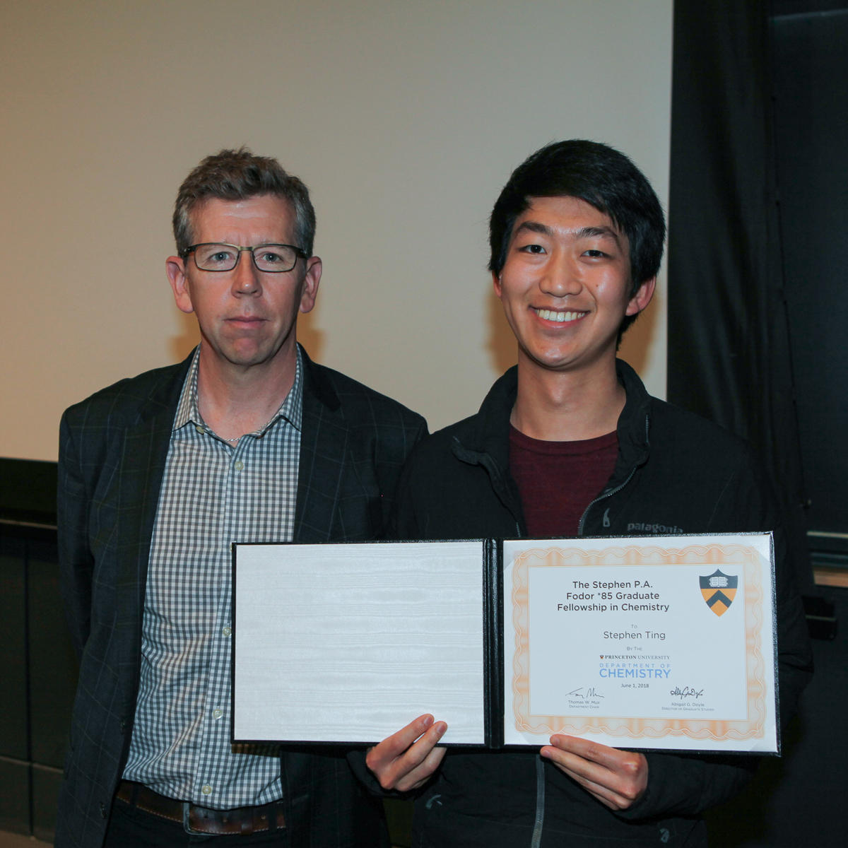 Tom Muir and Stephen Ting (Doyle lab), recipient of The Stephen P.A. Fodor *85  Graduate Fellowship in Chemistry