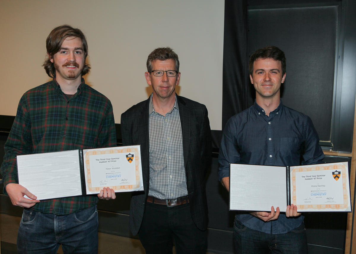 Tom Muir with Peter Waddell (Carrow lab) and Misha Nechay (Kleiner lab), recipients of The Third Year Seminar Hubbell '47 Prize
