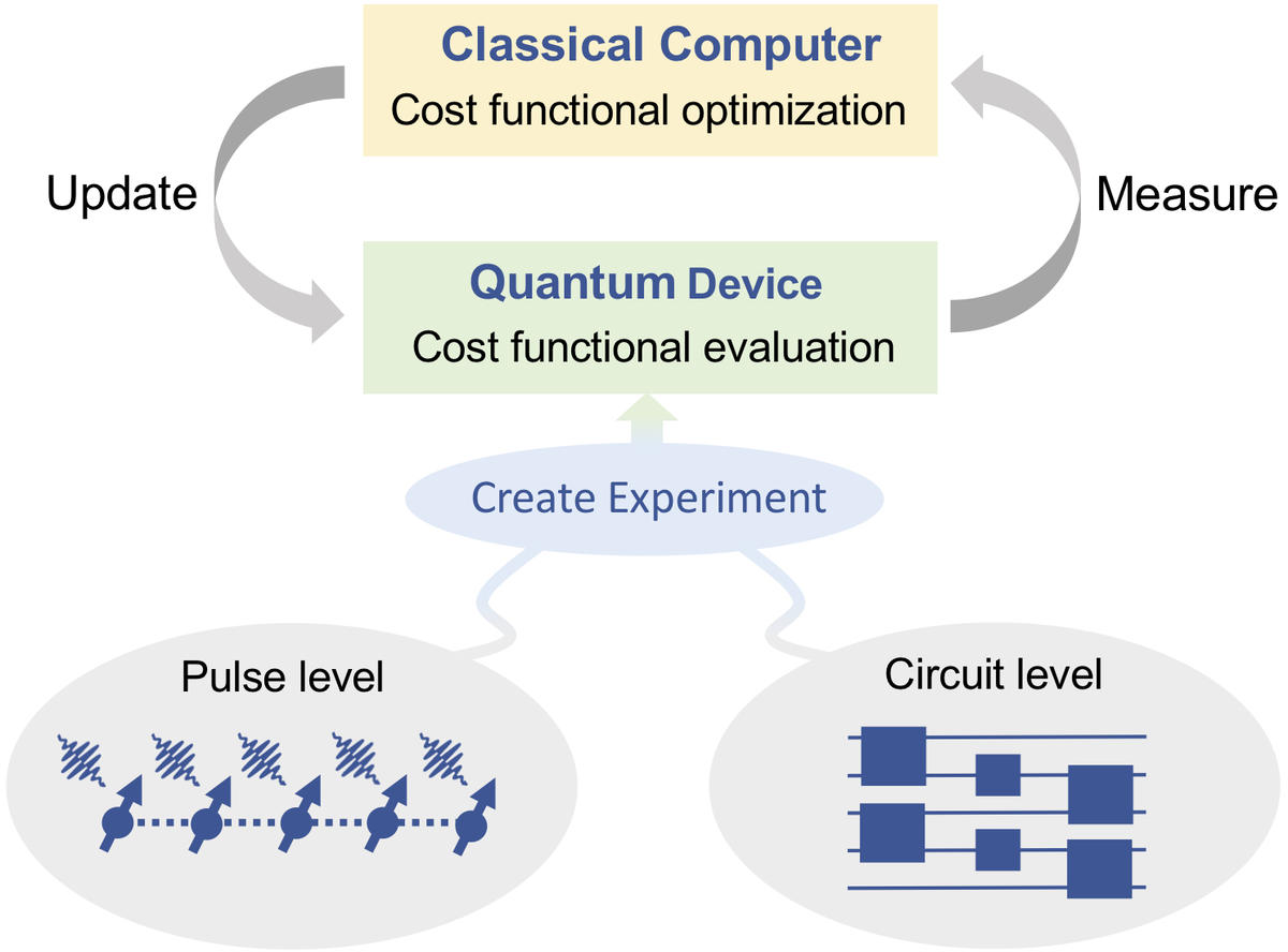The shared iterative framework used in VQAs and quantum optimal control experiments. In their recent Perspective, the authors explore how future developments in the area of VQAs may be informed by returning to a more physical, pulse-level description inspired by quantum optimal control theory.