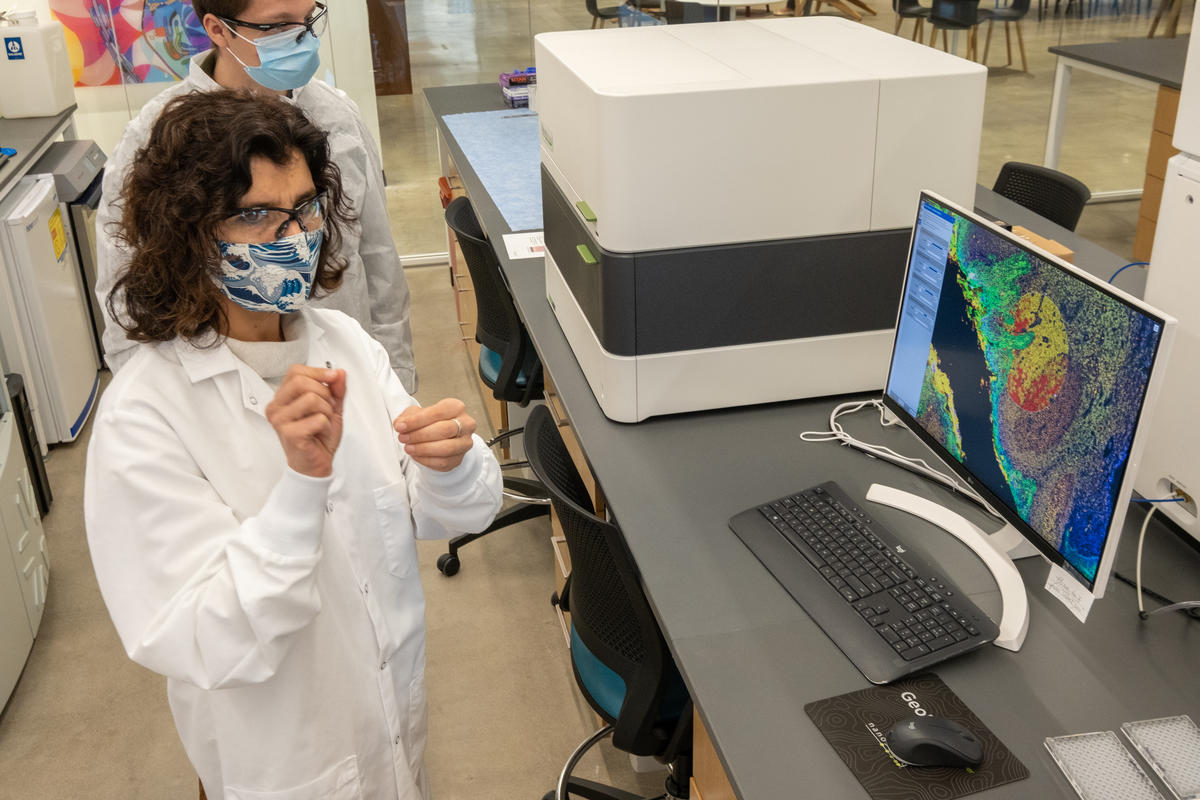 Genmab's Suzana Couto, Head of Pathology, during a lab tour at Genmab, U.S., which opened the doors in June to its renovated facility.