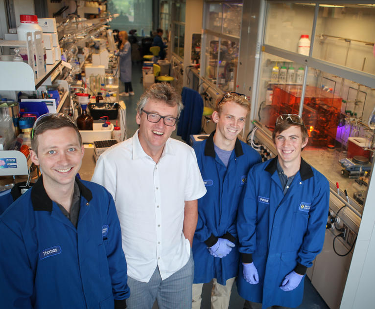 Paper authors Thomas Brewer, postdoctoral researcher; David MacMillan, the James S. McDonnell Distinguished University Professor of Chemistry; Ian Perry, 2nd-year graduate student; and Patrick Sarver, 2nd-year graduate student
