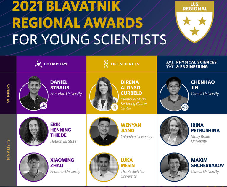 Winners and finalists of the 2021 Blavatnik Regional Awards for Young Scientists, including Princeton Chemistry's Daniel Straus.