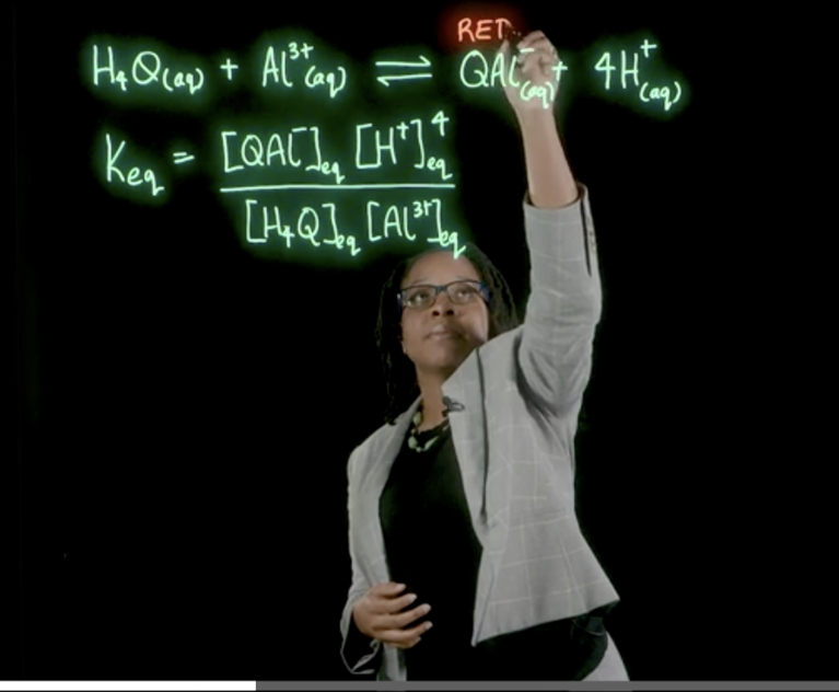 Sonja Francis, lecturer in chemistry, uses a lightboard in her general chemistry classes and labs.